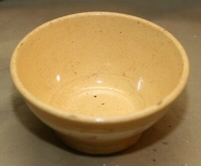 "Antique American Pottery Banded 5"" Miniature Yellowware Mixing Bowl Kitchenware"