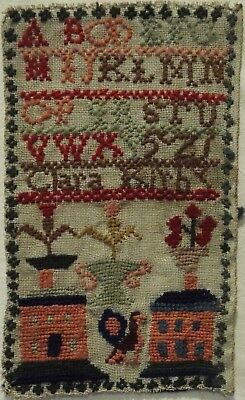 VERY SMALL LATE 19TH CENTURY DOUBLE HOUSE & MOTIF SAMPLER BY CLARA KIRBY c.1880