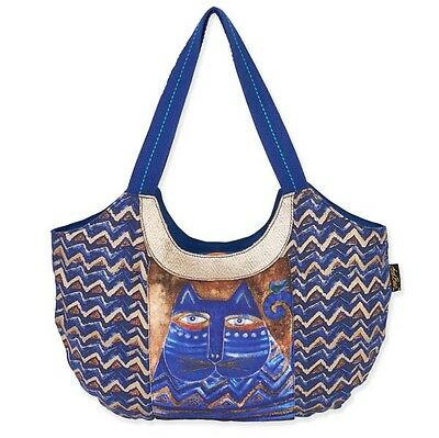 # LAUREL BURCH Scoop Tote Bag AZUL CAT Feline Brown Blue Purse Handbag Shoulder