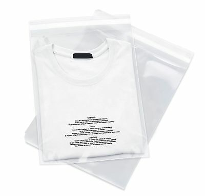 100 14x20 Poly Bags Resealable Suffocation Warning Clear Merchandise 1.5 mil