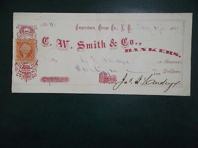 C. W. Smith & Co. Bankers. Jan. 19, 1869. Cooperstown, N.Y.