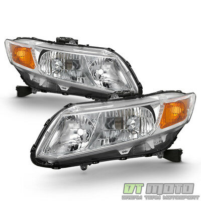 For 2012 2013 2014 2015 Honda Civic Headlights Chrome Headlamps 12-15 Left+Right