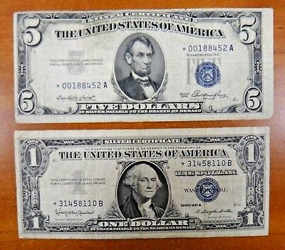 1957B $1 1953 $5 STAR Silver Certyificates Note Paper Money US Currency