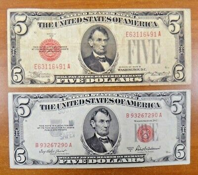 1928 B 1953 A $5  US Notes Paper Money Currency Bill RED Seal