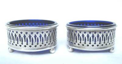 2 Vintage Sterling Silver Cobalt Blue Glass Ball Footed Pierced Open Salt Cellar