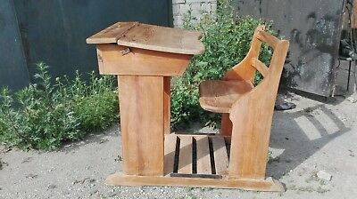 old  1930s. Swedish wooden hand made vintage school desk