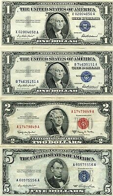 1953 5$, 1963A 2$, 2-1957 1$ Nicer Silver Certificates!!!!!!..starts @ 2.99