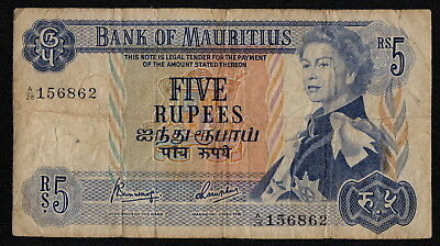MAURITIUS (P30c) 5 Rupees ND(1967) VG+