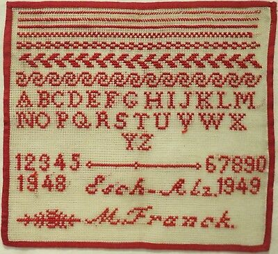 Mid 20Th Century Belgian? Red Stitch Work Sampler By M. Franck - 1948-1949