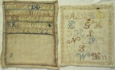 TWO SMALL MID/LATE 19TH CENTURY ALPHABET SAMPLERS, ONE UNFINISHED - c.1860-1870