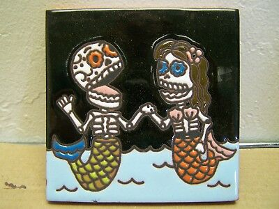 Day of the Dead Tile - Boy and Girl Skeleton Mermaid Pair - Mexico
