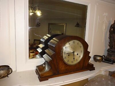 AntIque Art Deco Bravingtons 8 Day Oak Cased Striking Mantel Clock, Working...
