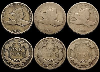 Flying Eagle Small Cent, Complete set, 1857, 1858 LL, 1858 SL