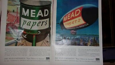 (2) 1953 Mead Corporation Advertisements - Mead Paper