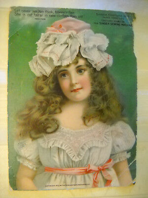 SINGER SEWING MACHINE Victorian 1902 ad costume illustration # 8 CHROMOLITHO