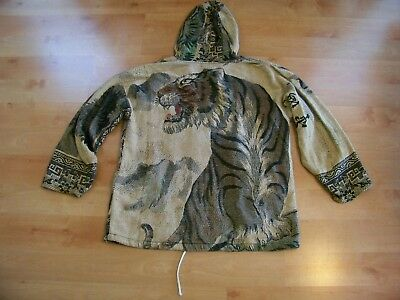 Vtg HIPPIE Boho Asian TAPESTRY Carpet TIGER Big CAT Hooded PULLOVER Jacket WoW!!