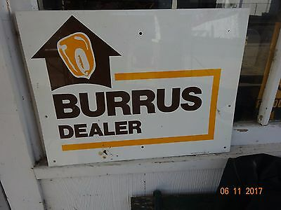 Vintage BURRUS  Dealer Double sided Sign Metal Seed Hybrids Arenzville Illinois