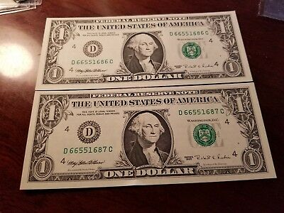 2 Consecutive $1 1995 Cleveland Web Federal Reserve Notes Choice Uncirculated
