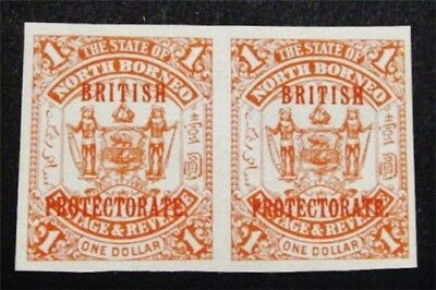 nystamps British North Borneo Stamp # 117 Mint OG H Imperf Pairs £200