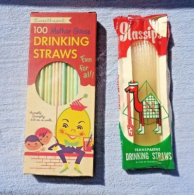 Lot of 2 Packages of Vintage Straws- Paper Sweetheart Mother Goose & Glassips