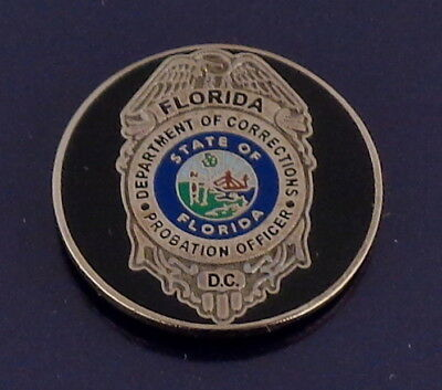 Florida Department of Corrections Mini Badge ROUND Lapel Pin FL DOC state police