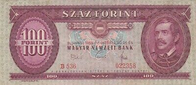 1968 Hungary 100 Forint Note, Pick 170d