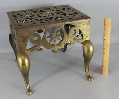 Large Antique Early 19thC Fireplace Hearth Kettle Stand Brass  Star Trivet, NR