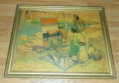 Vintage ROBERT W. AMICK Framed Print THE INDIAN WEAVER Native American