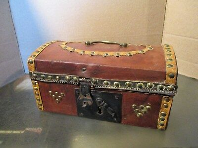 Wonderful Small Antique Leather-Covered Travel Trunk for Personal Items