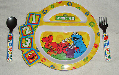 Sesame Street The First Years Child Divided Plate Fork & Knife