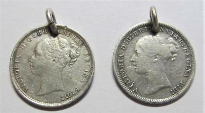 1878 & 1884 United Kingdom 3 Pence * Holed For Jewelry * 2 Queen Victoria Coins