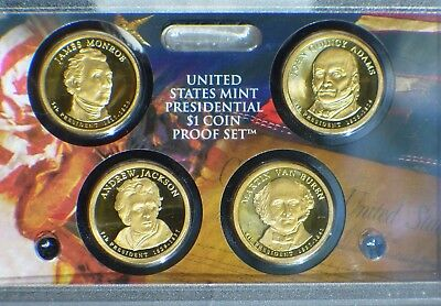 US Mint 2008 Presidential $1 Coin Proof Set Jackson Monroe Van Buren Adams