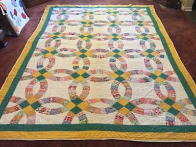 Large 1930's - 40's Double Wedding Ring Feed Sack Antique Quilt