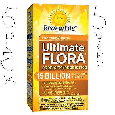 5 Boxes Renew Life Probiotic 15 Billion Ultimate Flora Daily immune health live