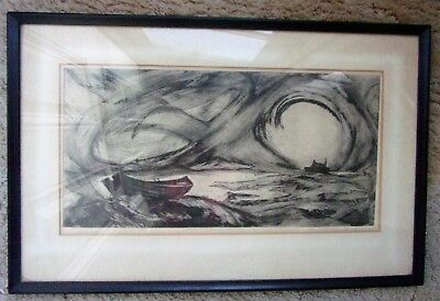 "1962 Original Pen Ink Etching Drawing by G Thomas Boat Storm ""Sundown"" 2/20 Nice"
