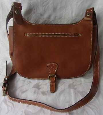 Vintage Patricia Nash Brown Italian Leather Purse SHoulder Hand Bag Saddle Bag