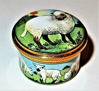 Staffordshire Enamels Box - Sheep In A Meadow - Border Of Spring Lambs