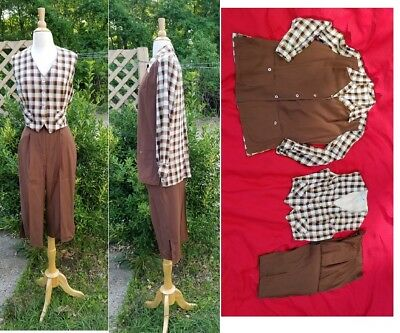 "Vintage 1940s ""Sareze of Miami"" Capri Pants,Vest Plaid Jacket 3pc set W27"" Rare"