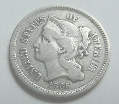 1865 3 Cent Nickel  All Lines Show in Roman Number III
