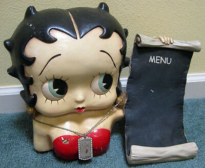 Large BETTY BOOP HOLDING A MENU FIGURE 12 Inches High x 16 Inches Wide 2002