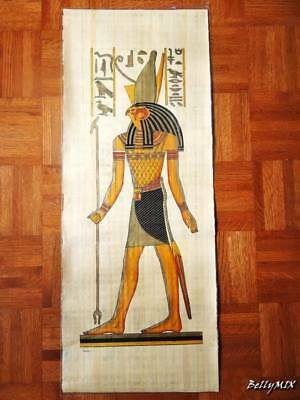 """Huge Signed Handmade Papyrus Egyptian_ Falcon HORUS _Art Painting 32""""x12"""" Inches"""