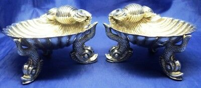 Quality Pair Victorian Solid Silver Dolphin & Shell Salts By George Unite 1874