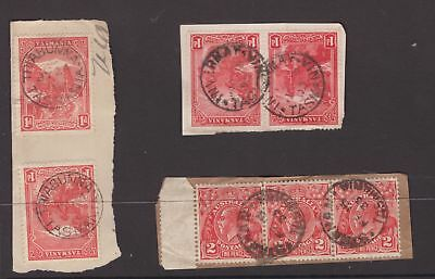 Tasmania postmarks on 2 x 1d pictorial pairs and KGV strip x 3