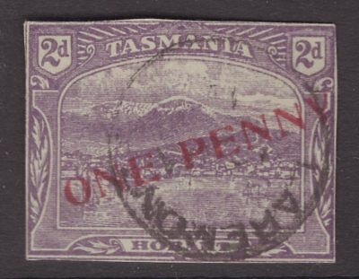 Tasmania ONE PENNY overprint on 2d pictorial from postal stationery
