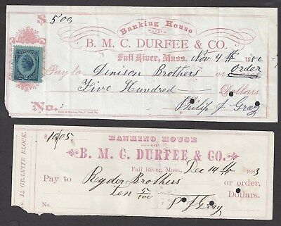 Two Durfee & Co. Fall River Bank Checks 1882-1883