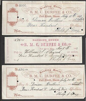 3 Durfee & Co. Fall River Bank Checks 1883
