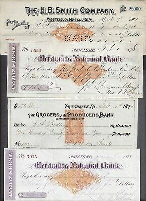 4 Bank Checks 1873-1901
