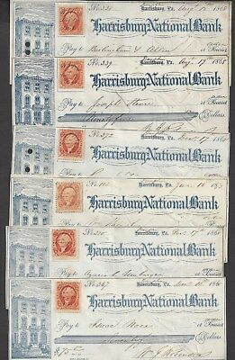 "6 Harrisburg Bank Checks Pennsylvania ""Bank"" 1868-1873"
