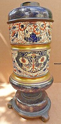 Large Victorian Hinks & Son Gilt Ceramic oil lamp   IMARI  pattern Crown Derby