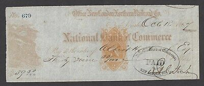 "1867 New London Connecticut Railroad Check RN-B1 ""Train"""